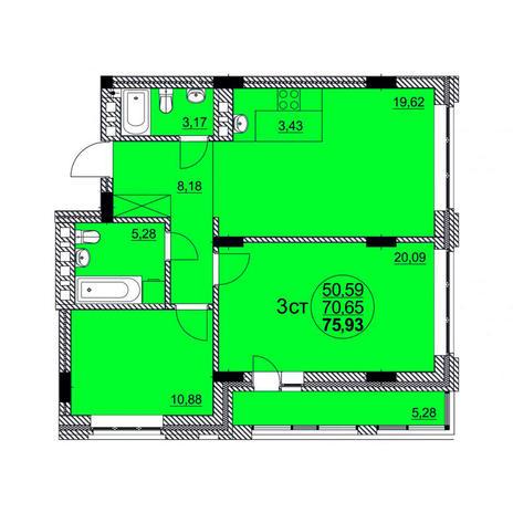 Вариант №3767, 3-комнатная квартира в жилом комплексе