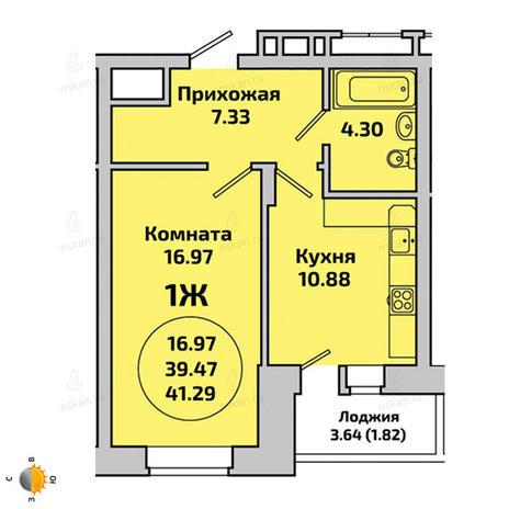 Вариант №1958, 1-комнатная квартира в жилом комплексе Приозерный