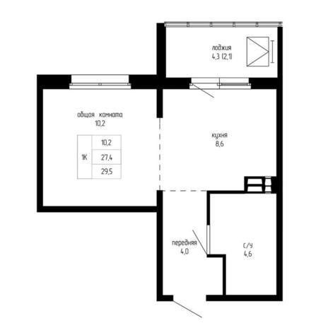 Вариант №5199, 1-комнатная квартира в жилом комплексе