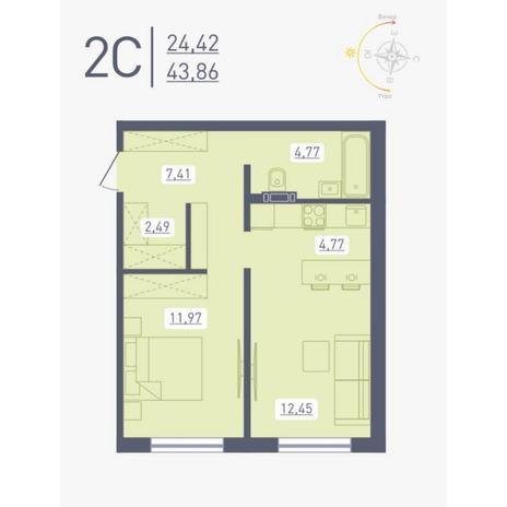 Вариант №4875, 2-комнатная квартира в жилом комплексе Радуга Сибири