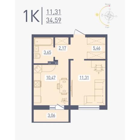 Вариант №4876, 1-комнатная квартира в жилом комплексе