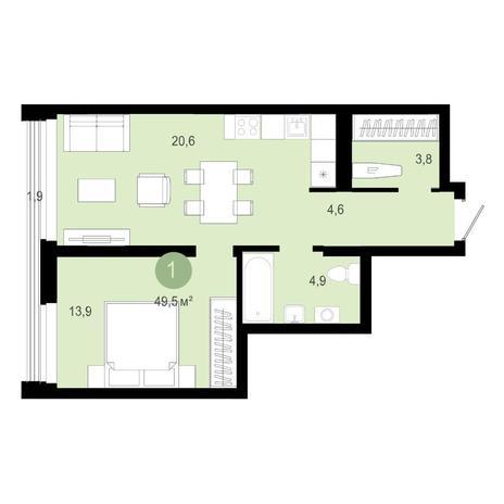 Вариант №4590, 2-комнатная квартира в жилом комплексе