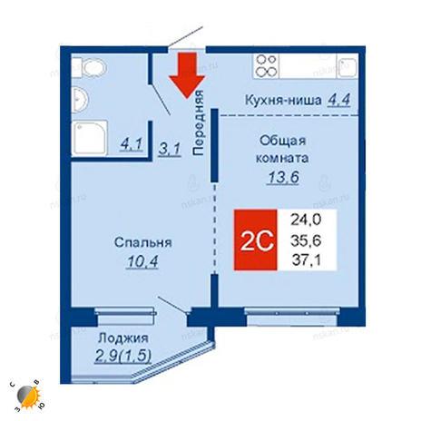 Вариант №2536, 2-комнатная квартира в жилом комплексе Акварельный