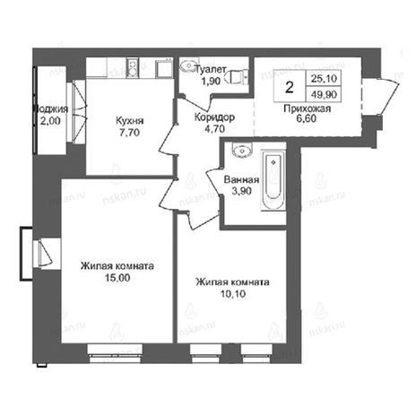 Вариант №2762, 2-комнатная квартира в жилом комплексе