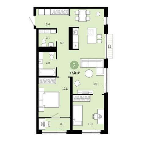 Вариант №6386, 3-комнатная квартира в жилом комплексе