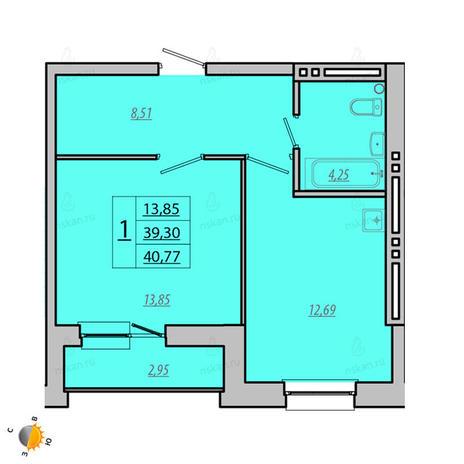 Вариант №1936, 1-комнатная квартира в жилом комплексе