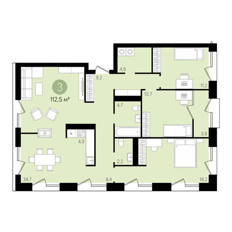 Вариант №3483, 4-комнатная квартира в жилом комплексе На Декабристов