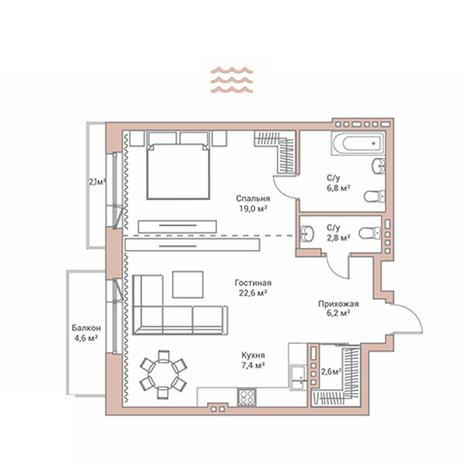 Вариант №2899, 2-комнатная квартира в жилом комплексе