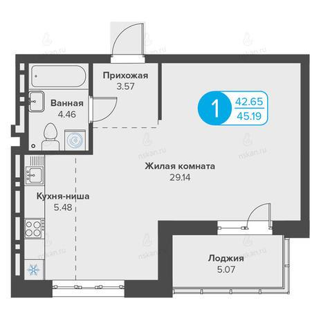 Вариант №2809, 1-комнатная квартира в жилом комплексе Огни Сибири