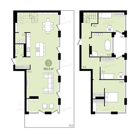 Вариант №2382, 4-комнатная квартира в жилом комплексе