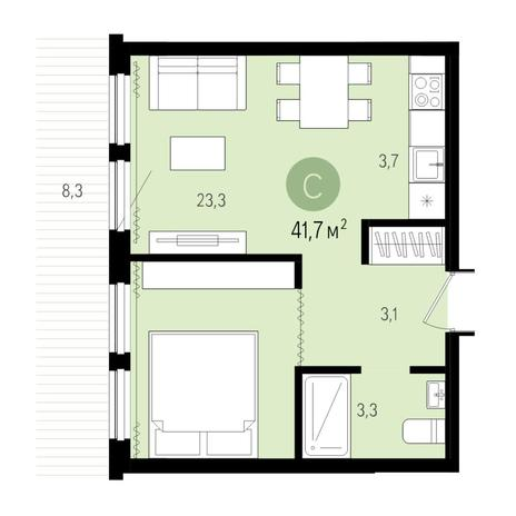 Вариант №4993, 2-комнатная квартира в жилом комплексе Пшеница