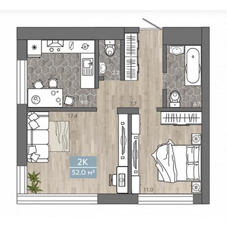 Вариант №4541, 2-комнатная квартира в жилом комплексе