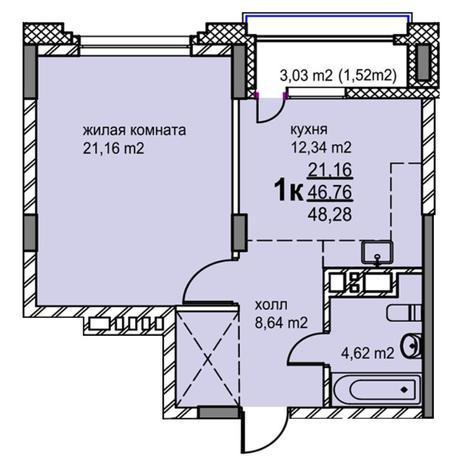 Вариант №5767, 1-комнатная квартира в жилом комплексе