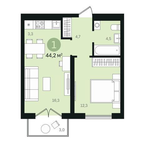 Вариант №6357, 2-комнатная квартира в жилом комплексе