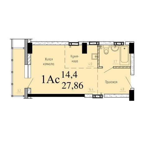 Вариант №6527, 1-комнатная квартира в жилом комплексе