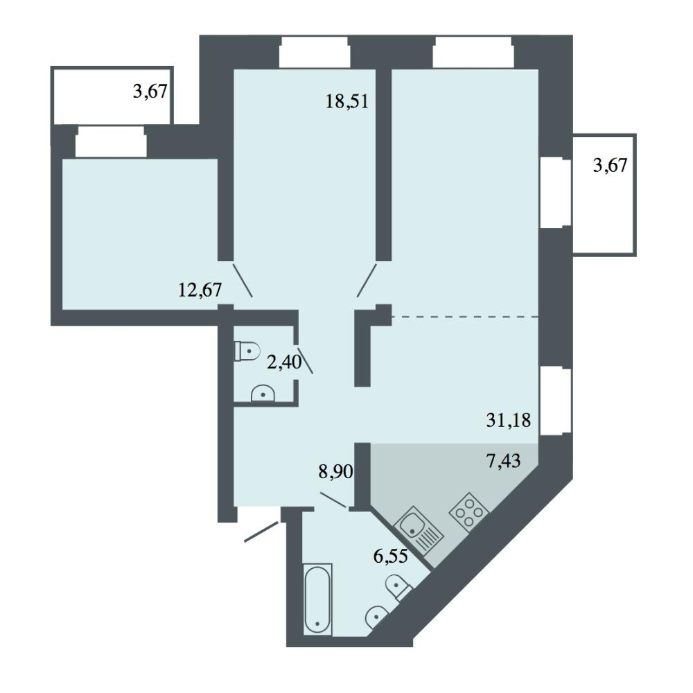 Планировка 4-комн. студия площадью 87.64 м<sup>2</sup> в ЖК Спектр