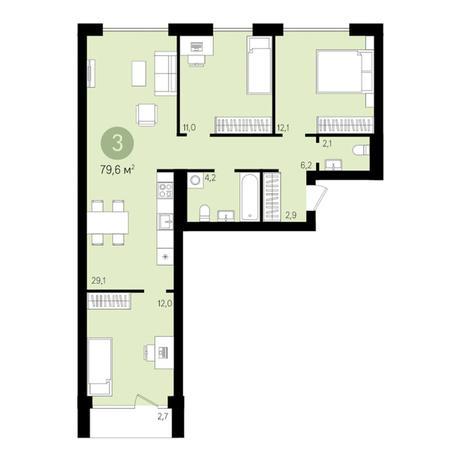 Вариант №3020, 4-комнатная квартира в жилом комплексе