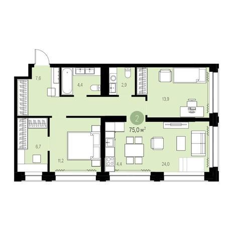 Вариант №5438, 3-комнатная квартира в жилом комплексе