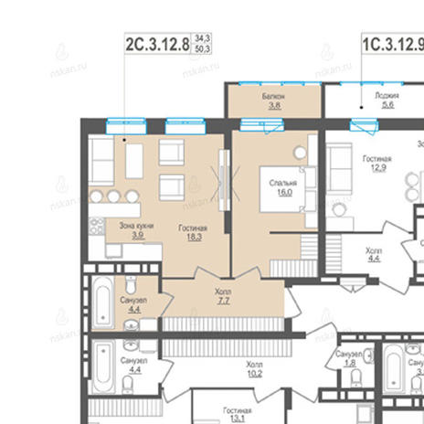 Вариант №849, 2-комнатная квартира в жилом комплексе Пифагор