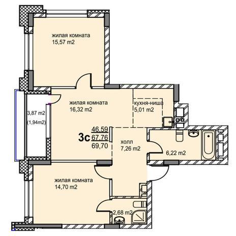 Вариант №5764, 3-комнатная квартира в жилом комплексе