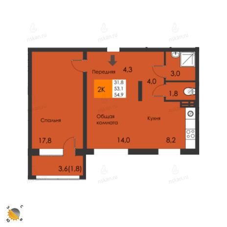 Вариант №2300, 2-комнатная квартира в жилом комплексе Пифагор