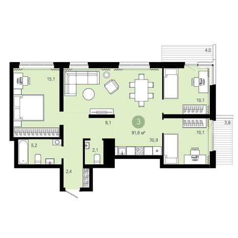 Вариант №4073, 4-комнатная квартира в жилом комплексе Европейский Берег