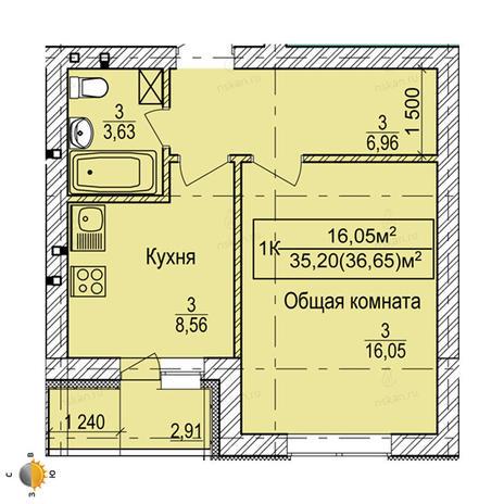 Вариант №2247, 1-комнатная квартира в жилом комплексе Дивногорский