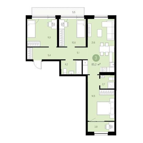Вариант №4726, 4-комнатная квартира в жилом комплексе Спектр