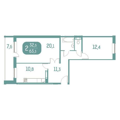 Вариант №2916, 2-комнатная квартира в жилом комплексе Аквамарин