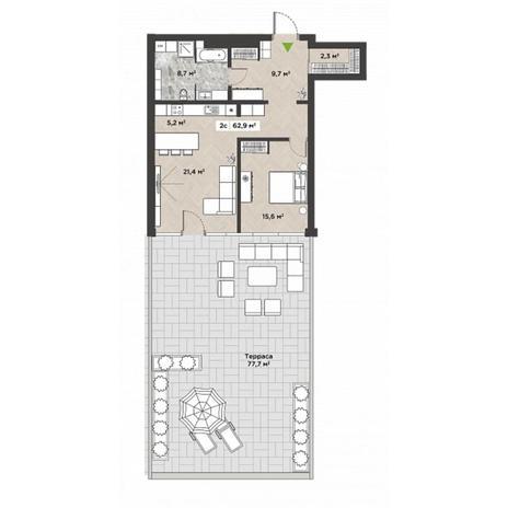 Вариант №5866, 2-комнатная квартира в жилом комплексе
