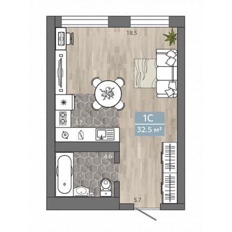 Вариант №4530, 1-комнатная квартира в жилом комплексе Ключевой
