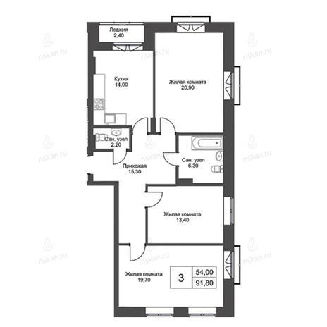 Вариант №2738, 3-комнатная квартира в жилом комплексе Пшеница