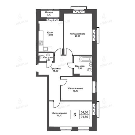 Вариант №2738, 3-комнатная квартира в жилом комплексе