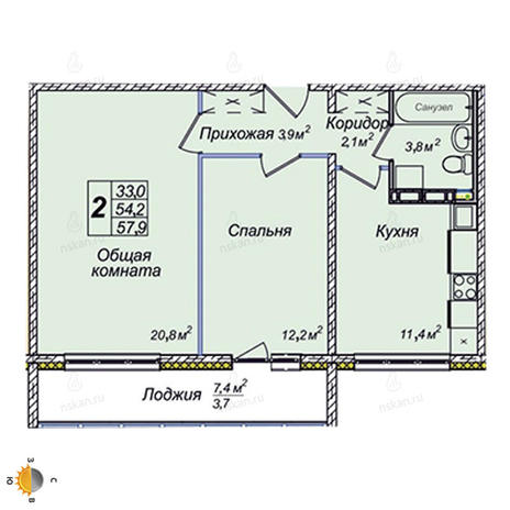 Вариант №2385, 2-комнатная квартира в жилом комплексе