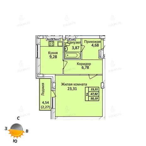 Вариант №717, 1-комнатная квартира в жилом комплексе Тихвинский квартал