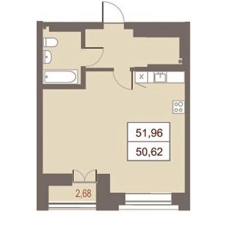 Вариант №2867, 2-комнатная квартира в жилом комплексе Дом на Чаплыгина