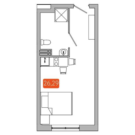 Вариант №5350, 1-комнатная квартира в жилом комплексе