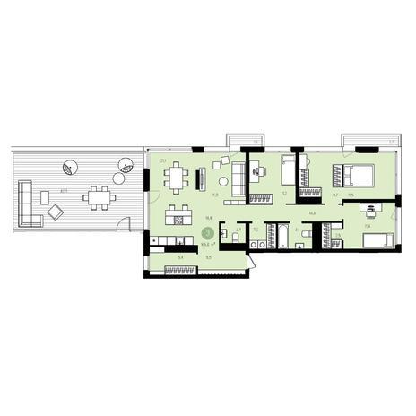 Вариант №5535, 4-комнатная квартира в жилом комплексе