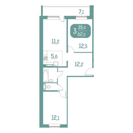 Вариант №2903, 3-комнатная квартира в жилом комплексе Аквамарин