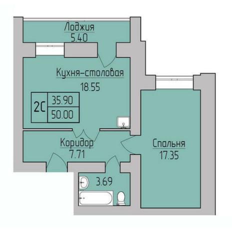 Вариант №5384, 2-комнатная квартира в жилом комплексе