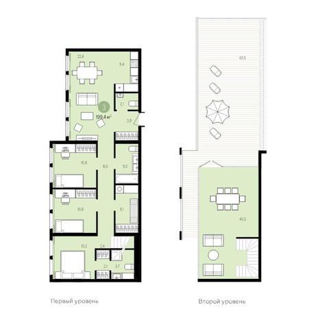 Вариант №4998, 5-комнатная квартира в жилом комплексе Пшеница