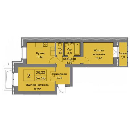 Вариант №3559, 2-комнатная квартира в жилом комплексе