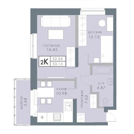 Вариант №2832, 2-комнатная квартира в жилом комплексе Традиции