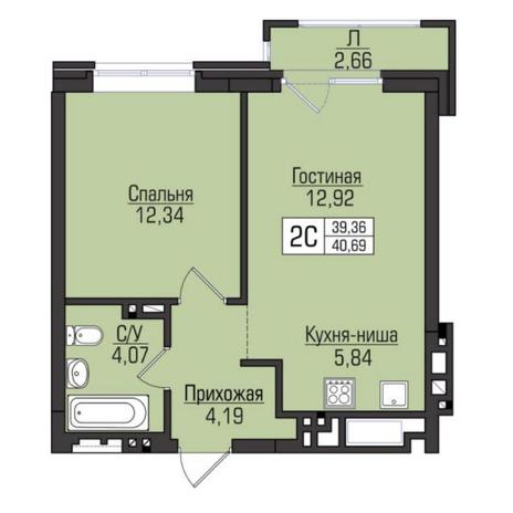 Вариант №5082, 2-комнатная квартира в жилом комплексе Цивилизация