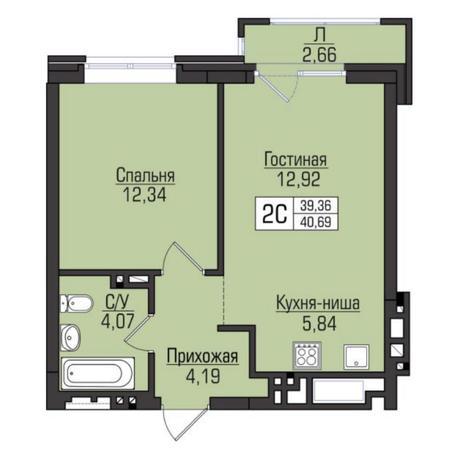 Вариант №5082, 2-комнатная квартира в жилом комплексе