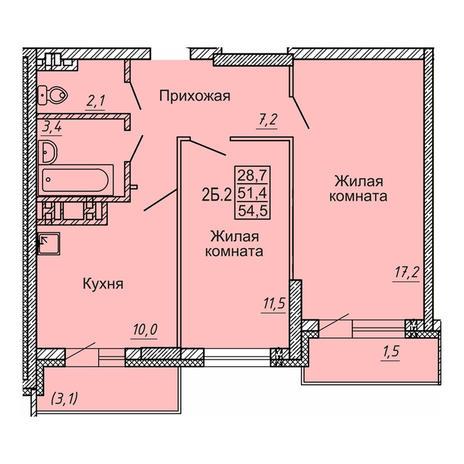 Вариант №4128, 2-комнатная квартира в жилом комплексе Новые Матрешки