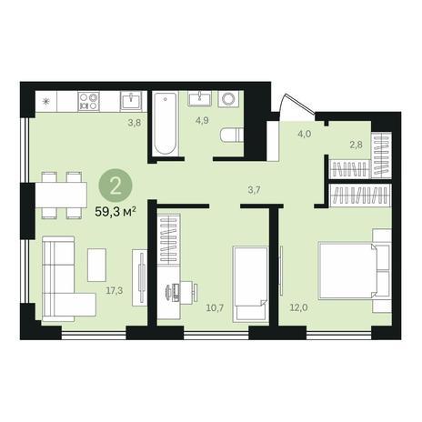 Вариант №6368, 3-комнатная квартира в жилом комплексе