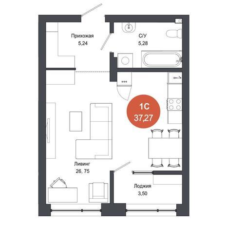 Вариант №4561, 1-комнатная квартира в жилом комплексе Ясный берег