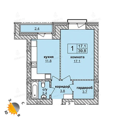 Вариант №1614, 1-комнатная квартира в жилом комплексе