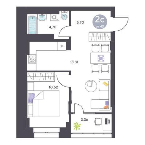 Вариант №5110, 2-комнатная квартира в жилом комплексе Радуга Сибири